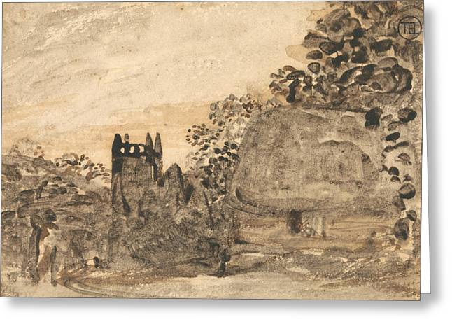 Thatched Cottage And Church Greeting Card by Samuel Palmer