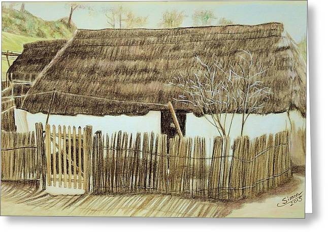 Thatch Drawings Greeting Cards - Thatched Cottage Greeting Card by Cati Simon