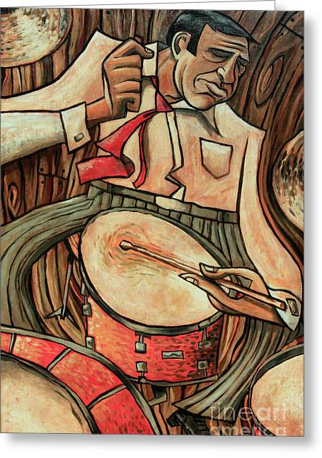 Drummer Greeting Cards - Thats Rich Greeting Card by Sean Hagan