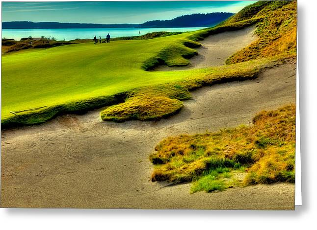 Us Open Greeting Cards - The #1 Hole at Chambers Bay Greeting Card by David Patterson