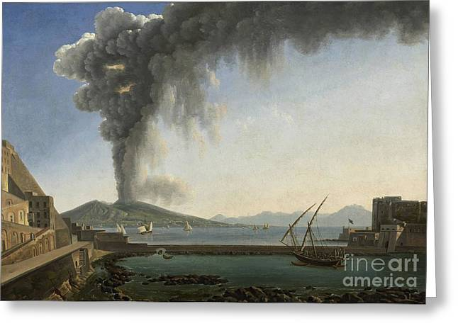 Sun Of Beach Drawings Greeting Cards - The 1813 Eruption of Vesuvius Naples Greeting Card by Celestial Images