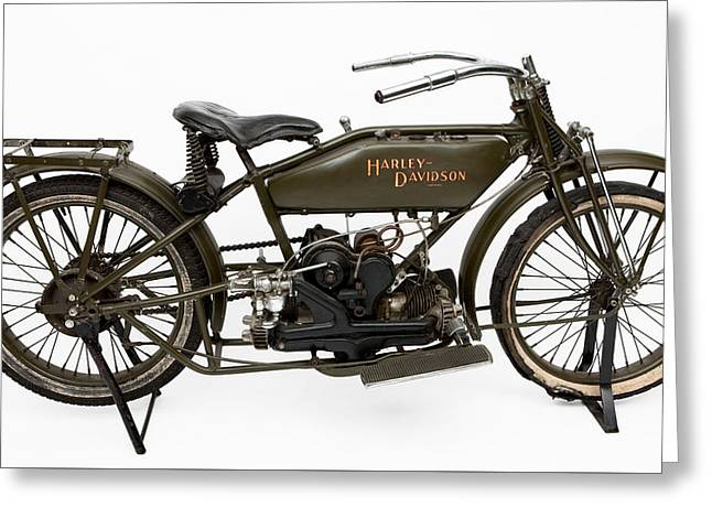 Times Past Greeting Cards - The 1919 Harley Davidson Twin Sport model  Greeting Card by American School
