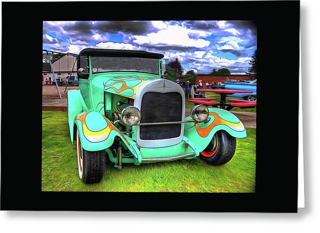 Automotive Art Greeting Cards - The 1929 Ford Model A Roadster Greeting Card by Thom Zehrfeld