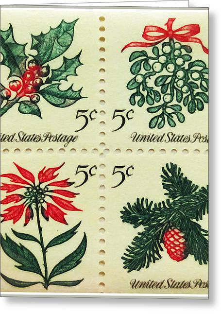 Editorial Paintings Greeting Cards - The 1964 Christmas stamps Greeting Card by Lanjee Chee