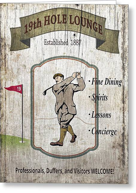 Golf Tournaments Greeting Cards - The 19th HOLE LOUNGE Greeting Card by Daniel Hagerman