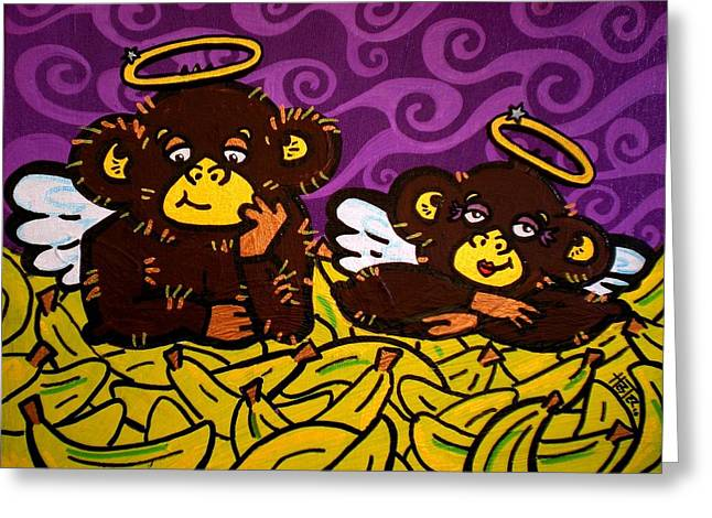 Banana Paintings Greeting Cards - The 2 Monkeys Greeting Card by Katie Hester