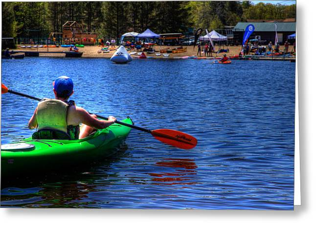 Canoe Photographs Greeting Cards - The 2015 Paddlefest in Old Forge Greeting Card by David Patterson