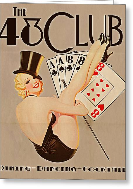 Vintage Pinup Greeting Cards - The 48 Club Greeting Card by Cinema Photography