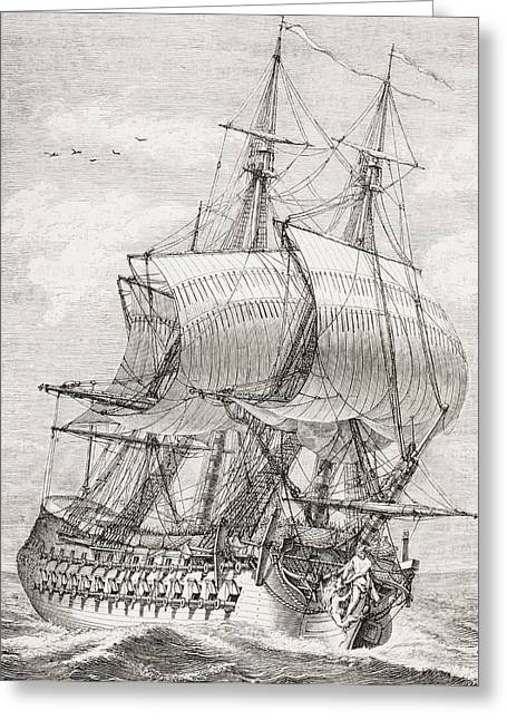 French Open Greeting Cards - The 58 Gun Frigate Of The French Navy Greeting Card by Ken Welsh