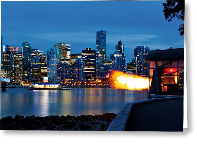 The 9 O'clock Gun In Vancouver Greeting Card by Alexis Birkill