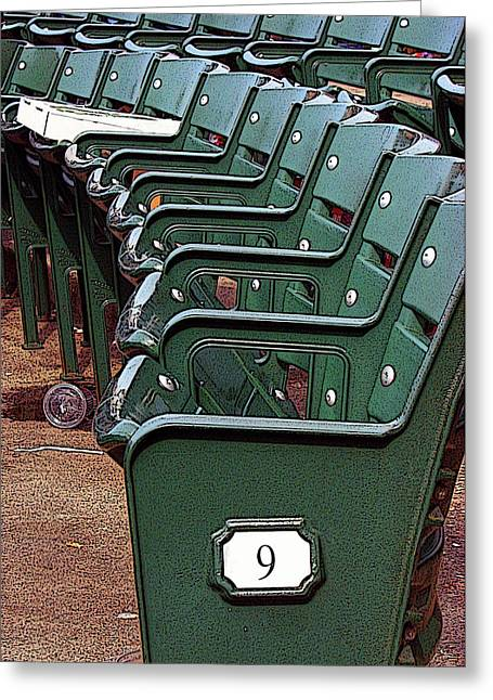Empty Chairs Greeting Cards - The 9th at Wrigley Greeting Card by Joanne Coyle