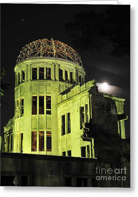 The A-bomb Dome At Night Greeting Card by Andy Smy