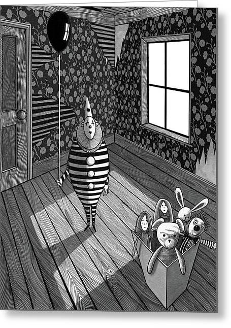 The Abandoned Clown  Greeting Card by Andrew Hitchen