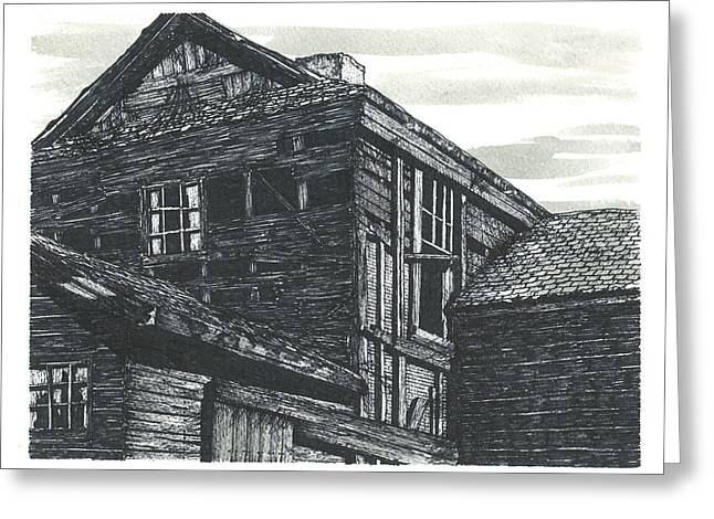 Abandoned Houses Drawings Greeting Cards - The Abandoned Greeting Card by Jonathan Baldock