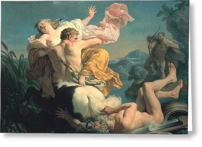 Abduction Greeting Cards - The Abduction of Deianeira by the Centaur Nessus Greeting Card by Louis Jean Francois Lagrenee