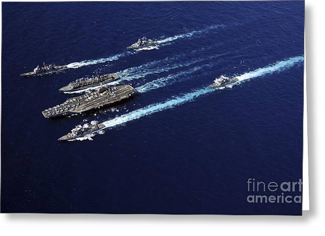 Underway Greeting Cards - The Abraham Lincoln Carrier Strike Greeting Card by Stocktrek Images