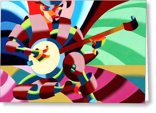 The Abstract Futurist Cowboy Banjo Player Greeting Card by Mark Webster