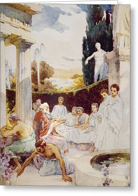 Aristotle Greeting Cards - The Academy At Athens By James Clark Greeting Card by Ken Welsh