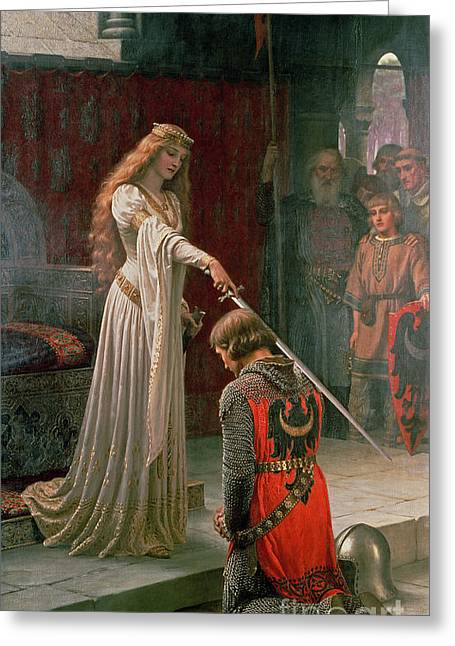 Knelt Paintings Greeting Cards - The Accolade Greeting Card by Edmund Blair Leighton