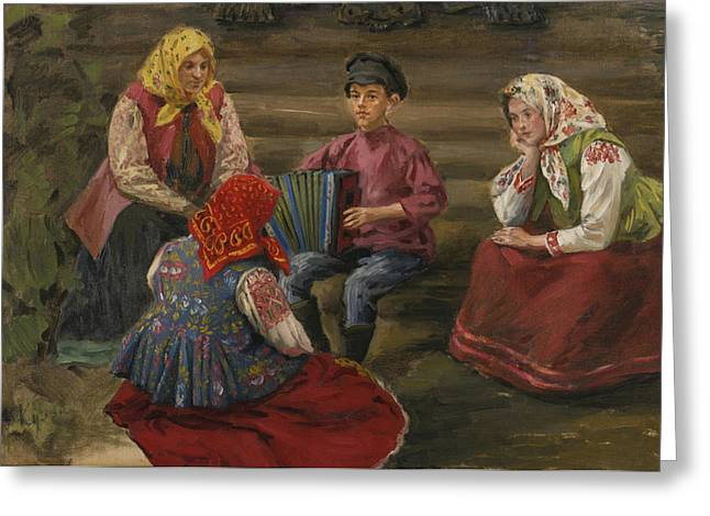 1874 Greeting Cards - The Accordion Player Greeting Card by Ivan Semenovich Kulikov