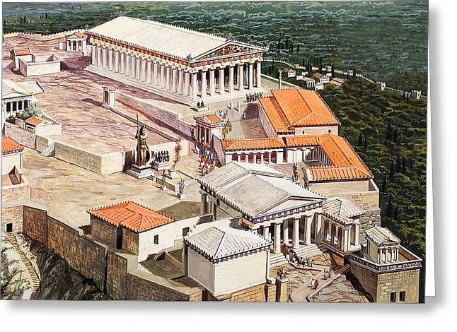 Height Drawings Greeting Cards - The Acropolis and Parthenon Greeting Card by Roger Payne