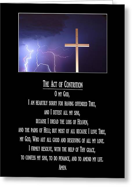 Act Of God Greeting Cards - The Act of Contrition Prayer Greeting Card by James BO  Insogna