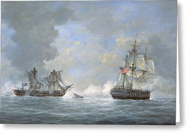 The Action Between Us Frigate United States And The British Frigate Macedonian Greeting Card by Richard Willis