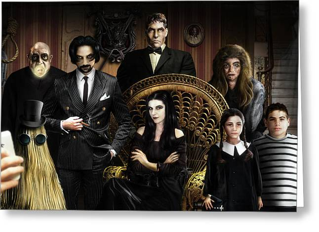 The Addams Family Greeting Card by Alessandro Della Pietra