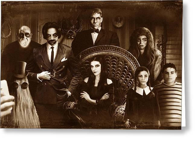 The Addams Family Sepia Version Greeting Card by Alessandro Della Pietra