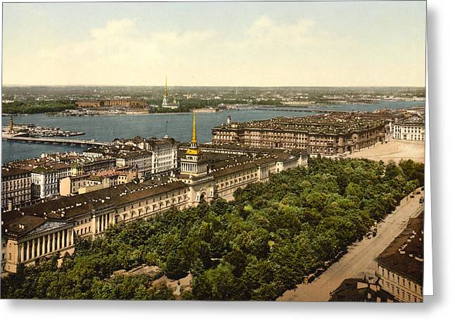 St. Petersburg Greeting Cards - The Admiralty Palace in St Petersburg Russia - ca 1900 Greeting Card by International  Images