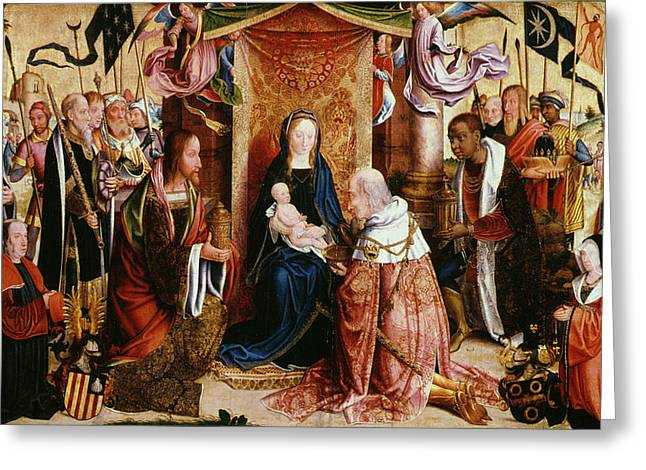 1485 Greeting Cards - The Adoration of the Kings Greeting Card by Master of Saint Severin