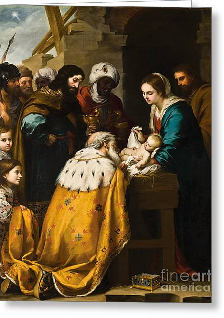 Bartolome Esteban Murillo Greeting Cards - The Adoration of the Magi Greeting Card by Celestial Images