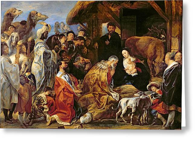 Baroque Greeting Cards - The Adoration of the Magi Greeting Card by Jacob Jordaens