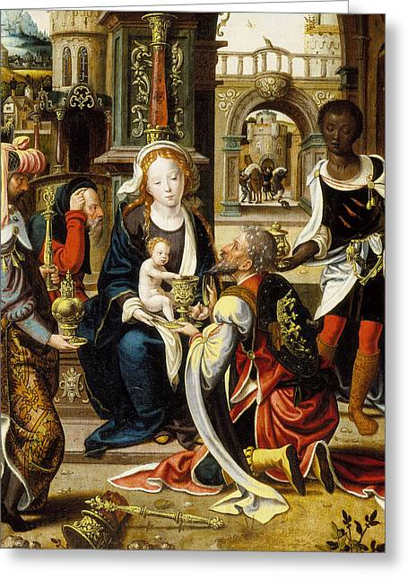 Christ Child Greeting Cards - The Adoration of the Magi Greeting Card by Pieter Coecke van Aelst
