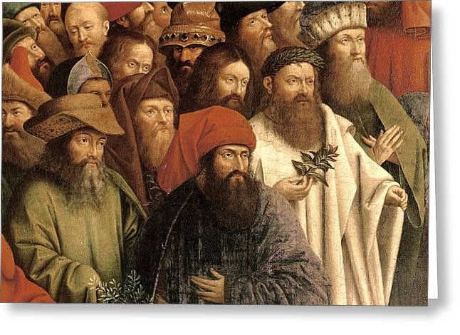 Green Hat Art Greeting Cards - The Adoration of the Mystic Lamb Greeting Card by Van Eyck