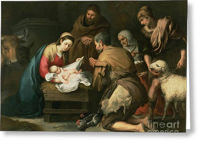 Mary Paintings Greeting Cards - The Adoration of the Shepherds Greeting Card by Bartolome Esteban Murillo