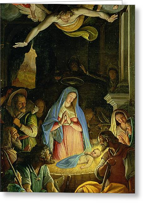 Manger Greeting Cards - The Adoration of the Shepherds Greeting Card by Federico Zuccaro