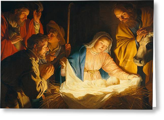 Virgin Mary Greeting Cards - The Adoration of the Shepherds Greeting Card by Gerrit van Honthorst