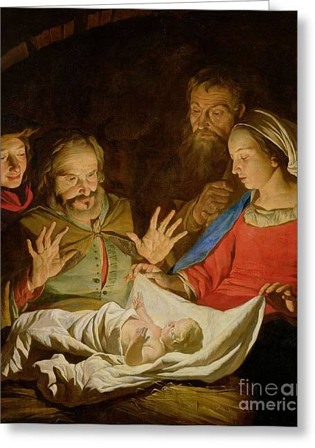 Xmas Paintings Greeting Cards - The Adoration of the Shepherds Greeting Card by Matthias Stomer