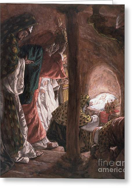 Illustration Greeting Cards - The Adoration of the Wise Men Greeting Card by Tissot