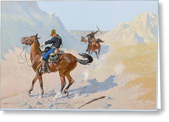 The Advance Guard Or The Military Sacrifice  The Ambush Greeting Card by Frederic Remington