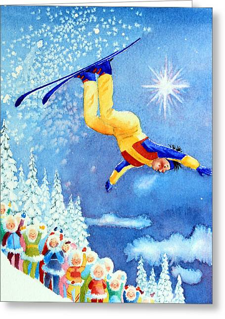 Ski Jumping Greeting Cards - The Aerial Skier 18 Greeting Card by Hanne Lore Koehler