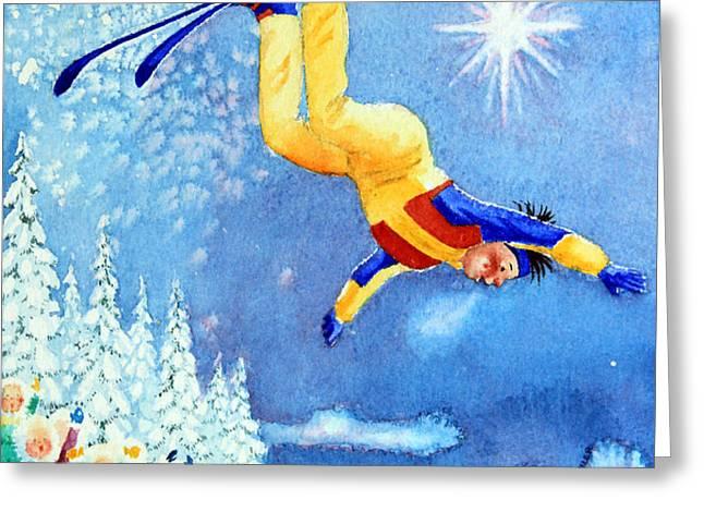 The Aerial Skier 18 Greeting Card by Hanne Lore Koehler