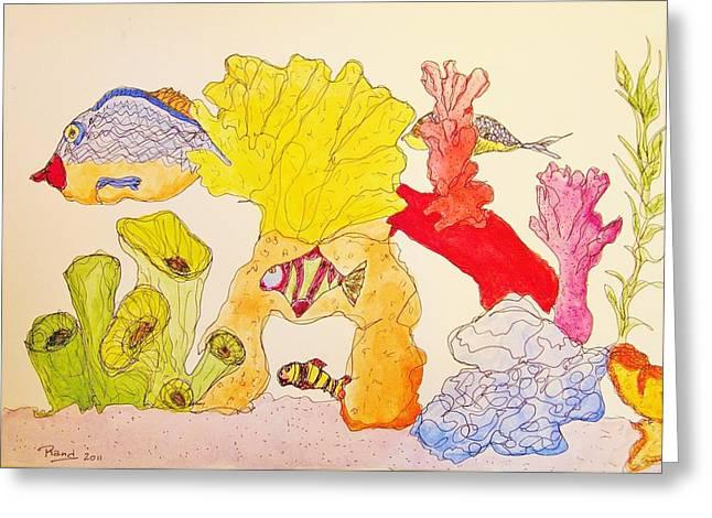 Aquarium Fish Drawings Greeting Cards - The Age of Aquarium Greeting Card by Rand Swift