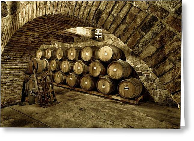 Italian Wine Greeting Cards - The Aging Of Wine Greeting Card by Mountain Dreams