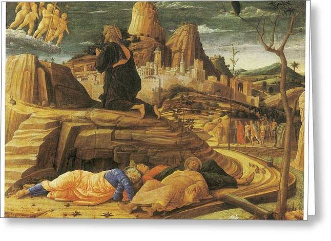 Agony In Garden Greeting Cards - The Agony in the Garden Greeting Card by Andrea Mantegna