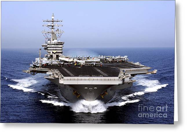 Aircraft Carrier Greeting Cards - The Aircraft Carrier Uss Dwight D Greeting Card by Stocktrek Images