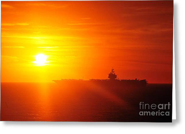 Enterprise Paintings Greeting Cards - The aircraft carrier USS Enterprise is underway Greeting Card by Celestial Images