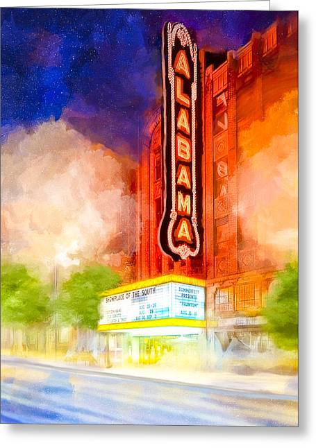 The Alabama Theatre By Night Greeting Card by Mark E Tisdale