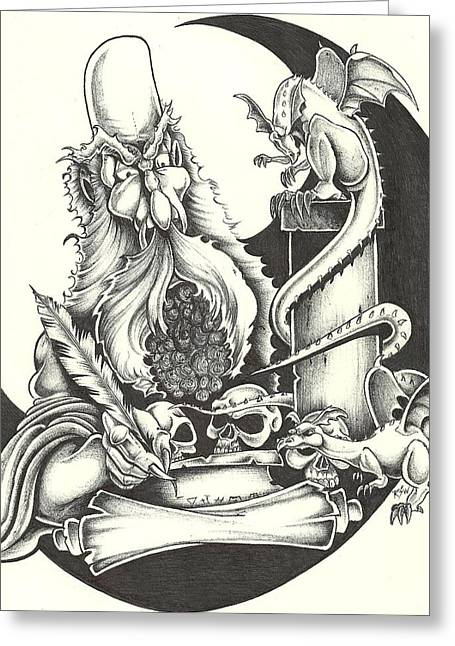 Scroll Drawings Greeting Cards - The Alchemist Greeting Card by Scott Williams